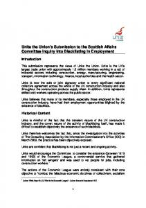 Unite the Union s Submission to the Scottish Affairs Committee Inquiry into Blacklisting in Employment