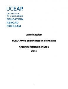 United Kingdom. UCEAP Arrival and Orientation Information