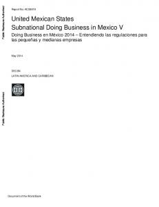 United Mexican States Subnational Doing Business in Mexico V
