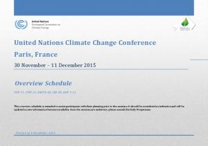 United Nations Climate Change Conference Paris, France