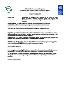United Nations Development Programme Countries: People s Republic of China, and Republic of Korea PROJECT DOCUMENT