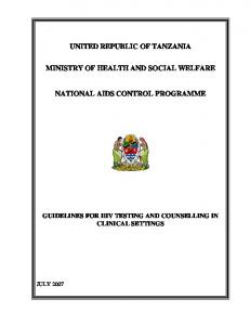 UNITED REPUBLIC OF TANZANIA MINISTRY OF HEALTH AND SOCIAL WELFARE NATIONAL AIDS CONTROL PROGRAMME
