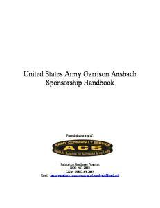 United States Army Garrison Ansbach Sponsorship Handbook