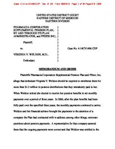 UNITED STATES DISTRICT COURT EASTERN DISTRICT OF MISSOURI EASTERN DIVISION