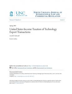 United States Income Taxation of Technology Export Transactions