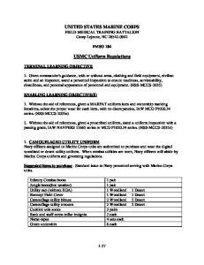 UNITED STATES MARINE CORPS FIELD MEDICAL TRAINING BATTALION Camp Lejeune, NC USMC Uniform Regulations