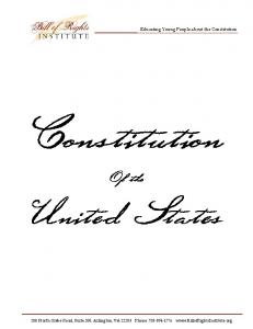 United States. Of the. Educating Young People about the Constitution