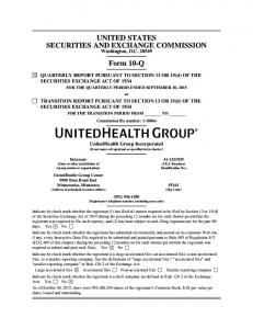 UNITED STATES SECURITIES AND EXCHANGE COMMISSION. Form 10-Q