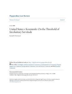 United States v. Kozminski: On the Threshold of Involuntary Servitude
