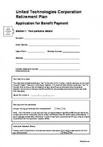 United Technologies Corporation Retirement Plan