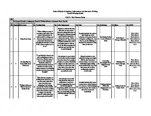 Units of Study in Opinion, Information and Narrative Writing Grade 6 Pacing Guide