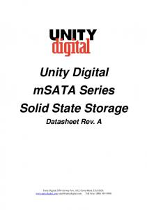 Unity Digital msata Series Solid State Storage Datasheet Rev. A