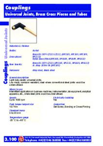 Universal Joints, Brass Cross Pieces and Tubes