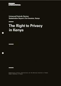 Universal Periodic Review Stakeholder Report: 21st Session, Kenya