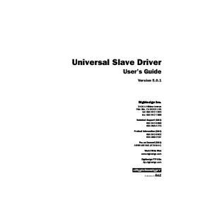 Universal Slave Driver User s Guide