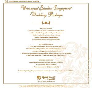 Universal Studios Singapore Wedding Package