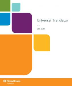 Universal Translator 11.5 USER GUIDE