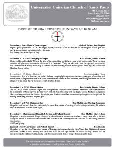 Universalist Unitarian Church of Santa Paula 740 E. Main Street Santa Paula, CA (805) Website: uucsp