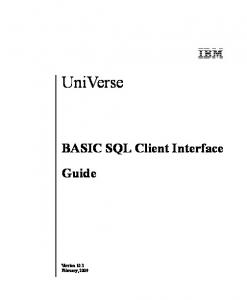 UniVerse. BASIC SQL Client Interface Guide. Beta Beta Beta Beta Beta Beta Beta Beta Beta Beta Beta Beta Beta Beta Beta Beta