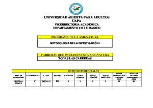 UNIVERSIDAD ABIERTA PARA ADULTOS UAPA VICERRECTORIA ACADEMICA DEPARTAMENTO CICLO BASICO