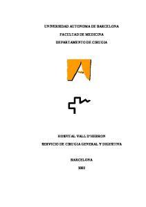 UNIVERSIDAD AUTONOMA DE BARCELONA FACULTAD DE MEDICINA DEPARTAMENTO DE CIRUGIA