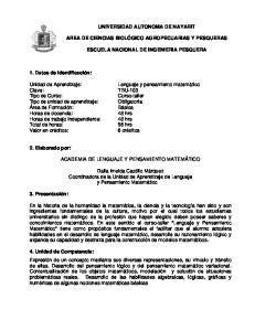 UNIVERSIDAD AUTONOMA DE NAYARIT ESCUELA NACIONAL DE INGENIERIA PESQUERA