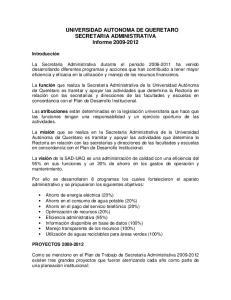 UNIVERSIDAD AUTONOMA DE QUERETARO SECRETARIA ADMINISTRATIVA Informe