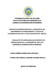 UNIVERSIDAD CENTRAL DEL ECUADOR FACULTAD DE CIENCIAS ADMINISTRATIVAS CARRERA DE ADMINISTRACIÓN DE EMPRESAS