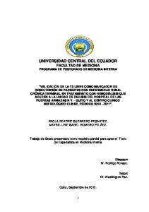 UNIVERSIDAD CENTRAL DEL ECUADOR FACULTAD DE MEDICINA PROGRAMA DE POSTGRADO DE MEDICINA INTERNA