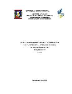 UNIVERSIDAD CENTROCCIDENTAL LISANDRO ALVARADO DECANATO DE CIENCIAS DE LA SALUD PROGRAMA DE ENFERMERIA INVESTIGACION EN ENFERMERIA