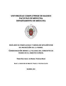 UNIVERSIDAD COMPLUTENSE DE MADRID FACULTAD DE MEDICINA DEPARTAMENTO DE MEDICINA