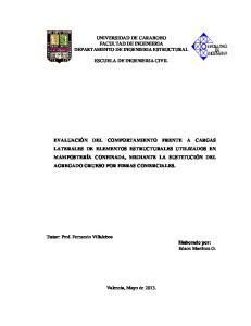 UNIVERSIDAD DE CARABOBO FACULTAD DE INGENIERIA DEPARTAMENTO DE INGENIERIA ESTRUCTURAL ESCUELA DE INGENIERIA CIVIL