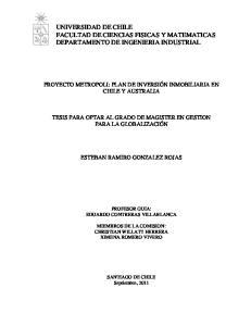 UNIVERSIDAD DE CHILE FACULTAD DE CIENCIAS FISICAS Y MATEMATICAS DEPARTAMENTO DE INGENIERIA INDUSTRIAL