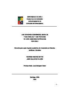 UNIVERSIDAD DE CHILE FACULTAD DE DERECHO DEPARTAMENTO DE DERECHO INTERNACIONAL