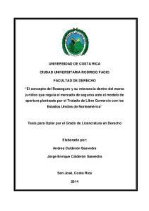UNIVERSIDAD DE COSTA RICA CIUDAD UNIVERSITARIA RODRIGO FACIO FACULTAD DE DERECHO