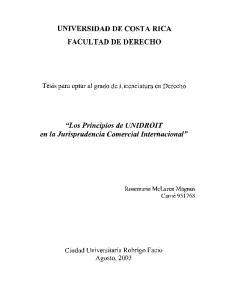 UNIVERSIDAD DE COSTA RICA FACULTAD DE DERECHO.