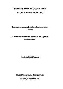 UNIVERSIDAD DE COSTA RICA FACULTAD DE DERECHO