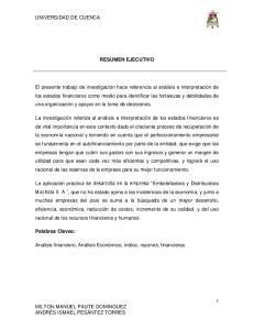 UNIVERSIDAD DE CUENCA RESUMEN EJECUTIVO