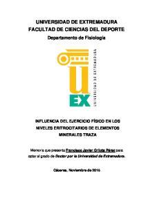 UNIVERSIDAD DE EXTREMADURA FACULTAD DE CIENCIAS DEL DEPORTE