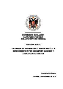 UNIVERSIDAD DE GRANADA FACULTAD DE MEDICINA DEPARTAMENTO DE MEDICINA