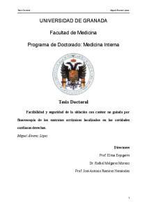 UNIVERSIDAD DE GRANADA! Facultad de Medicina! Programa de Doctorado: Medicina Interna!