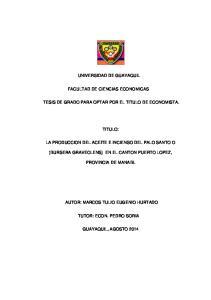 UNIVERSIDAD DE GUAYAQUIL FACULTAD DE CIENCIAS ECONOMICAS TESIS DE GRADO PARA OPTAR POR EL TITULO DE ECONOMISTA. TITULO:
