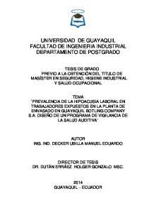 UNIVERSIDAD DE GUAYAQUIL FACULTAD DE INGENIERIA INDUSTRIAL DEPARTAMENTO DE POSTGRADO