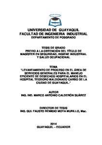 UNIVERSIDAD DE GUAYAQUIL FACULTAD DE INGENIERIA INDUSTRIAL DEPARTAMENTO DE POSGRADO