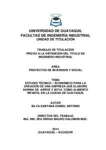 UNIVERSIDAD DE GUAYAQUIL FACULTAD DE INGENIERÍA INDUSTRIAL UNIDAD DE TITULACIÓN