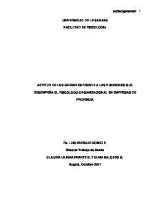 UNIVERSIDAD DE LA SABANA FACULTAD DE PSICOLOGIA