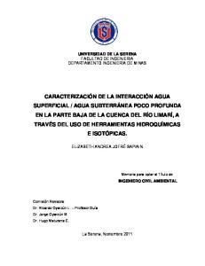 UNIVERSIDAD DE LA SERENA FACULTAD DE INGENIERIA DEPARTAMENTO INGENIERIA DE MINAS