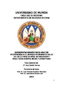 UNIVERSIDAD DE MURCIA FACULTAD DE MEDICINA DEPARTAMENTO DE MEDICINA INTERNA