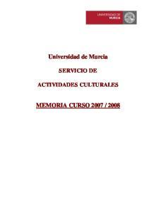 Universidad de Murcia SERVICIO DE ACTIVIDADES CULTURALES
