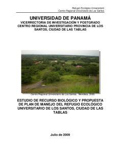 UNIVERSIDAD DE PANAMÁ VICERRECTORIA DE INVESTIGACIÓN Y POSTGRADO CENTRO REGIONAL UNIVERSITARIO PROVINCIA DE LOS SANTOS, CIUDAD DE LAS TABLAS